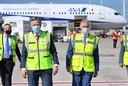 Koning Filip en Arnaud Feist op Brussels Airport.