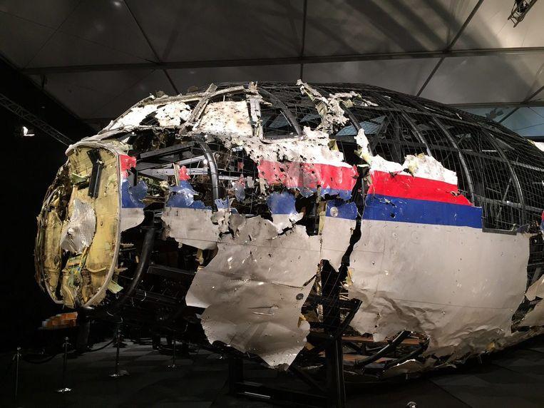 De reconstructie van het vliegtuig op de vliegbasis in Gilze-Rijen. Beeld EPA