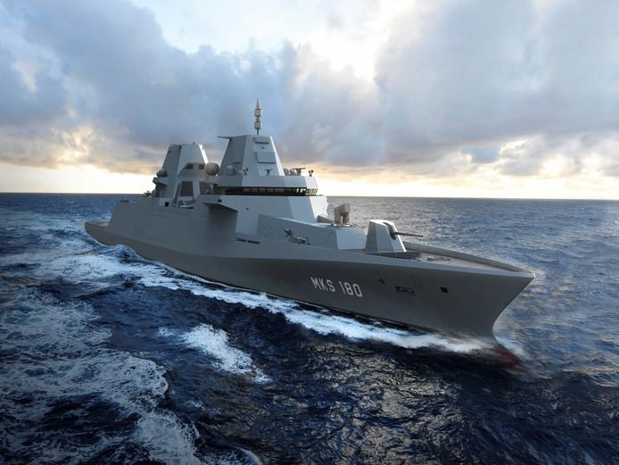Een impressie van de MKS 180. Het Gorcumse Damen Shipyards gaat met Duitse scheepsbouwers vier van deze fregatten bouwen voor de Duitse marine.