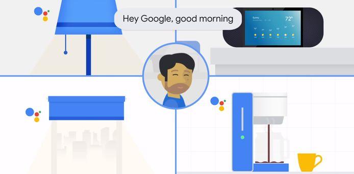 """Google a déjà préprogrammé six """"routines"""". Par exemple, lorsque la commande """"Hey Google, bonjour"""" est donnée, l'assistant lira les prévisions météorologiques, les rappels, les dernières nouvelles et les points à l'ordre du jour."""