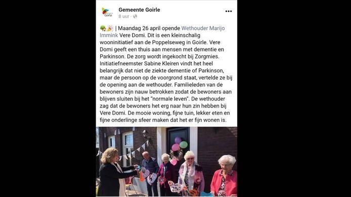 De gemeente Goirle kondigde zelf de opening aan door wethouder Marijo Immink op Facebook. Later is de post verwijderd.