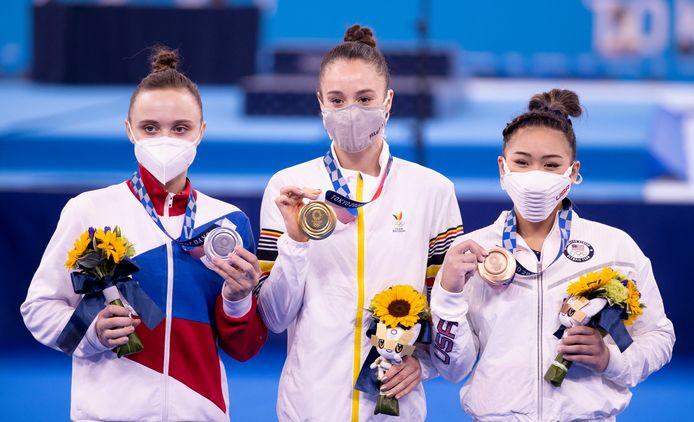 Anastasiia Ilankova, Nina Derwael en Sunisa Lee.