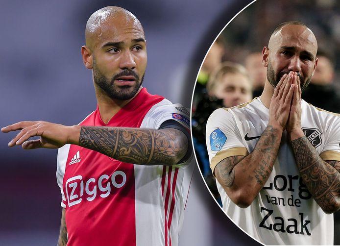 Links: Sean Klaiber in het shirt van Ajax. Rechts: het besef bij Klaiber dat hij de bekerfinale gaat missen.
