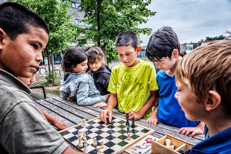 Leerlingen van het Lucernacollege in Houthalen-Helchteren schaken een partijtje. Beeld Tim Dirven