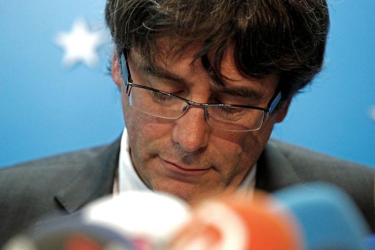 De Catalaanse ex minister-president Carles Puigdemont tijdens een persconferentie in Brussel.