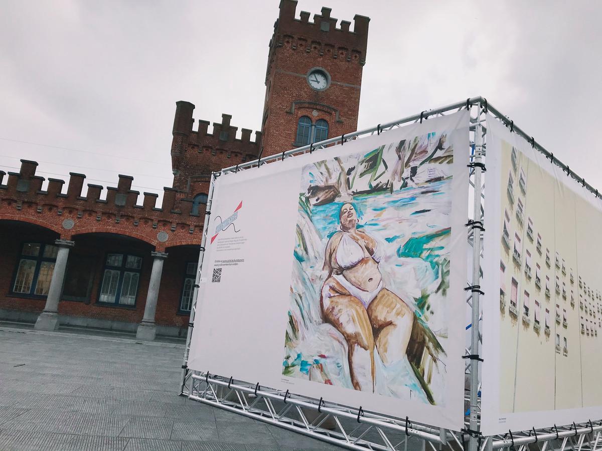 Kunst op het Statieplein in Aalst.