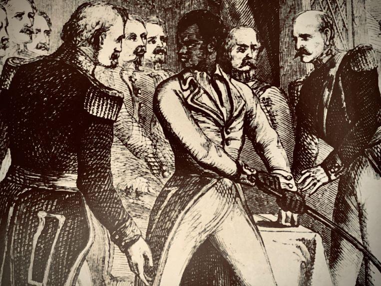 De arrestatie van Toussaint Louverture door generaal Leclerc. Beeld RV