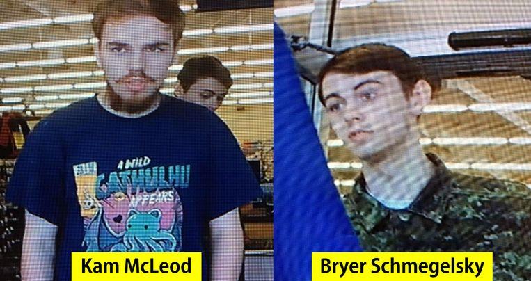 Kam McLeod en Bryer Schmegelsky op bewakingsbeelden die de politie op 23 juli vrijgaf.  Beeld AFP