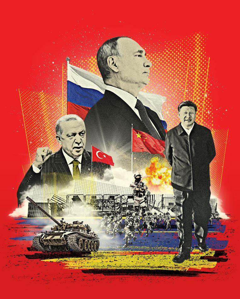 """Bij Poetin, Xi Jinping en Erdogan dwingt de EU weinig respect af, ze zien Europa als """"een vazal van de Verenigde Staten"""".   Beeld Ryan Olbrysh"""