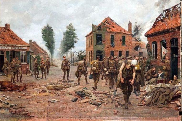 Het schilderij 'The Menin Crossroads' toont hoe Tandey een gewonde soldaat op de rug draagt. Beeld Green Howards Museum