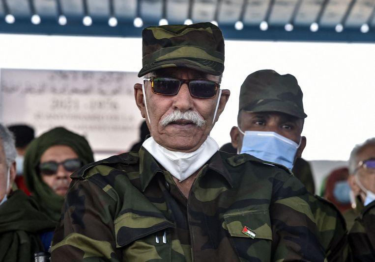 Polisario-leider Brahim Ghali eerder dit jaar in een Saharaans vluchtelingenkamp in Algerije. Beeld AFP