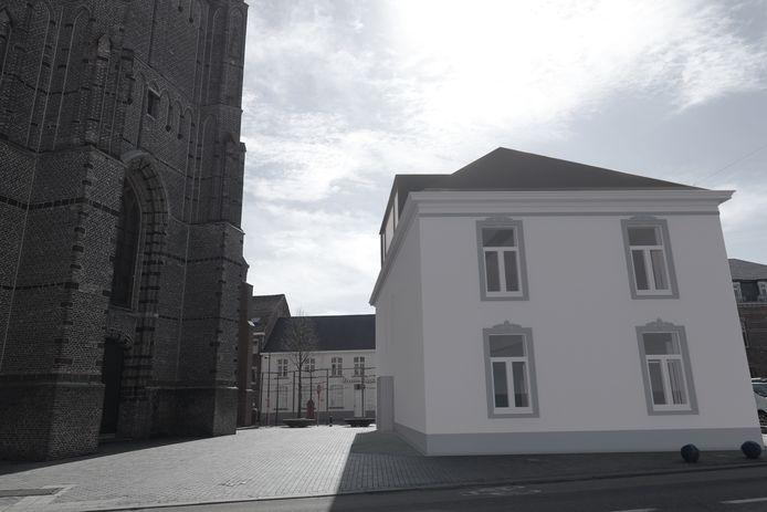 Ook de achterzijde van het oude gemeentehuis zal er na de renovatie helemaal anders uitzien.