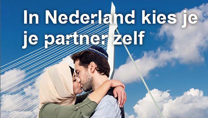 Een van de beelden van de postercampagne van de gemeente Rotterdam.