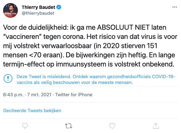 De tweet van Baudet in kwestie, met onderin een melding die waarschuwt voor misleidende informatie.