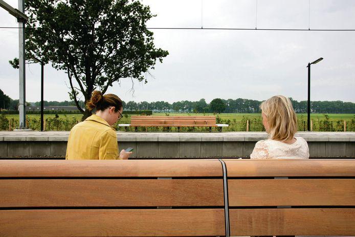 De bekende zwartstalen banken maken plaats voor houten exemplaren.