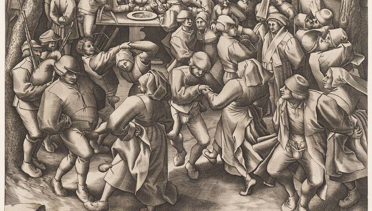 Dans op boerenbruiloft, door Pieter van der Heyden. Beeld © Museum Boijmans Van Beuningen