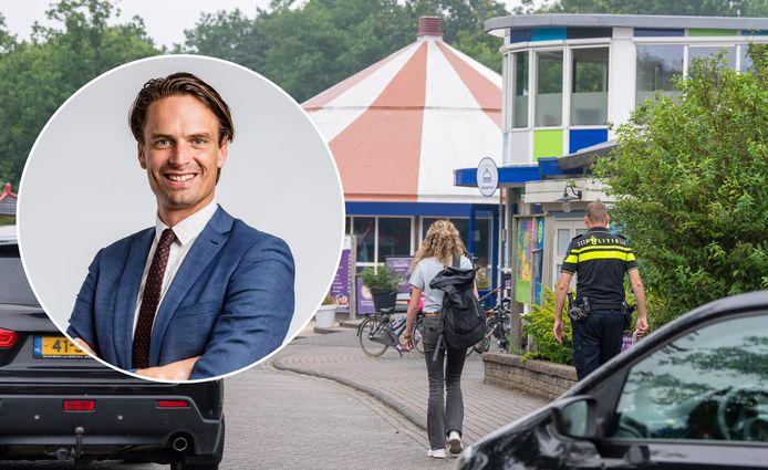 Politie was aanwezig bij camping De Zandstuve in Rheeze, waar voor de tweede keer dit jaar een zedenincident heeft plaatsgevonden. Inzet: locoburgemeester Alwin te Rietstap (gemeente Hardenberg).
