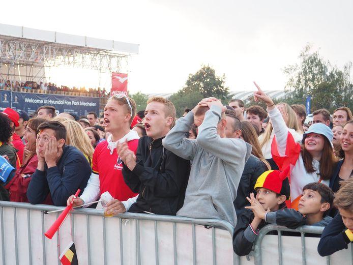Supporteren in het Fan Park zoals hier voor het WK in 2018, de kans is bijzonder klein dat het kan. En al zeker niet op dezelfde manier.