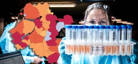 KAART | Meer besmettingen in Oost-Nederland, Staphorst negatieve uitschieter