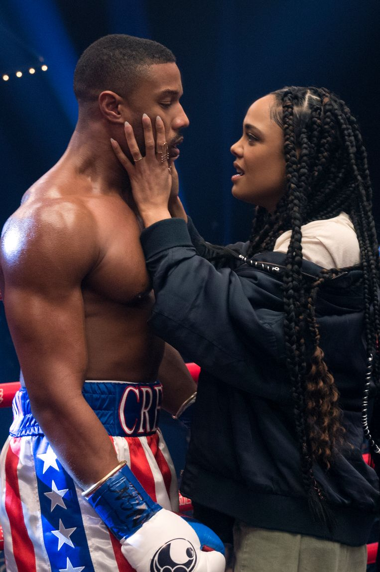 Michael B. Jordan stars als Adonis Creed en Tessa Thompson als zijn vrouw Bianca in 'Creed II'. Beeld rv/Barry Wetcher