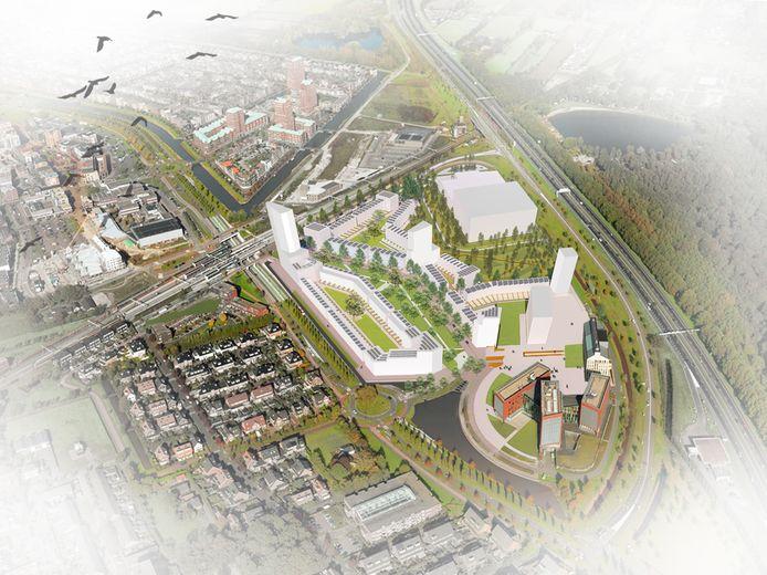 Artist's impression van de nieuwe woonwijk op de locatie Podium.