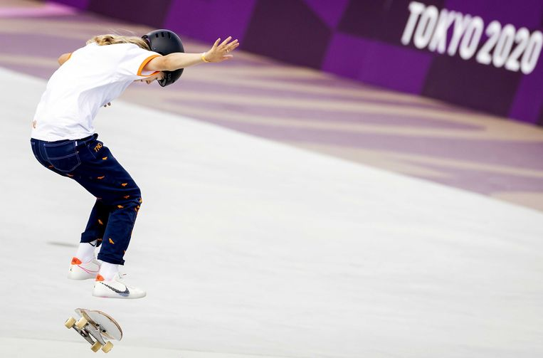 Keet Oldenbeuving in actie tijdens de olympische wedstrijd. Beeld ANP