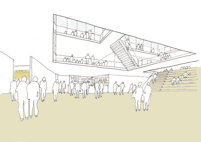 Een impressie van het interieur van het nieuwe Den Herd in Bladel. Van het balkon aan de buitenkant zijn nog geen illustraties.