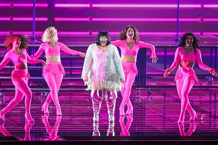 Malta tijdens de eerste generale repetitie, aan de vooravond van de eerste halve finale van de 65e editie van het Eurovisie Songfestival 2021 Beeld AFP