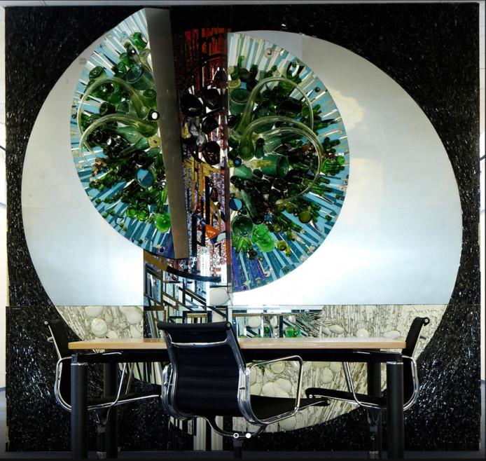 Een van de bedreigde mozaieken, een ontwerp van Gé Verhulst.