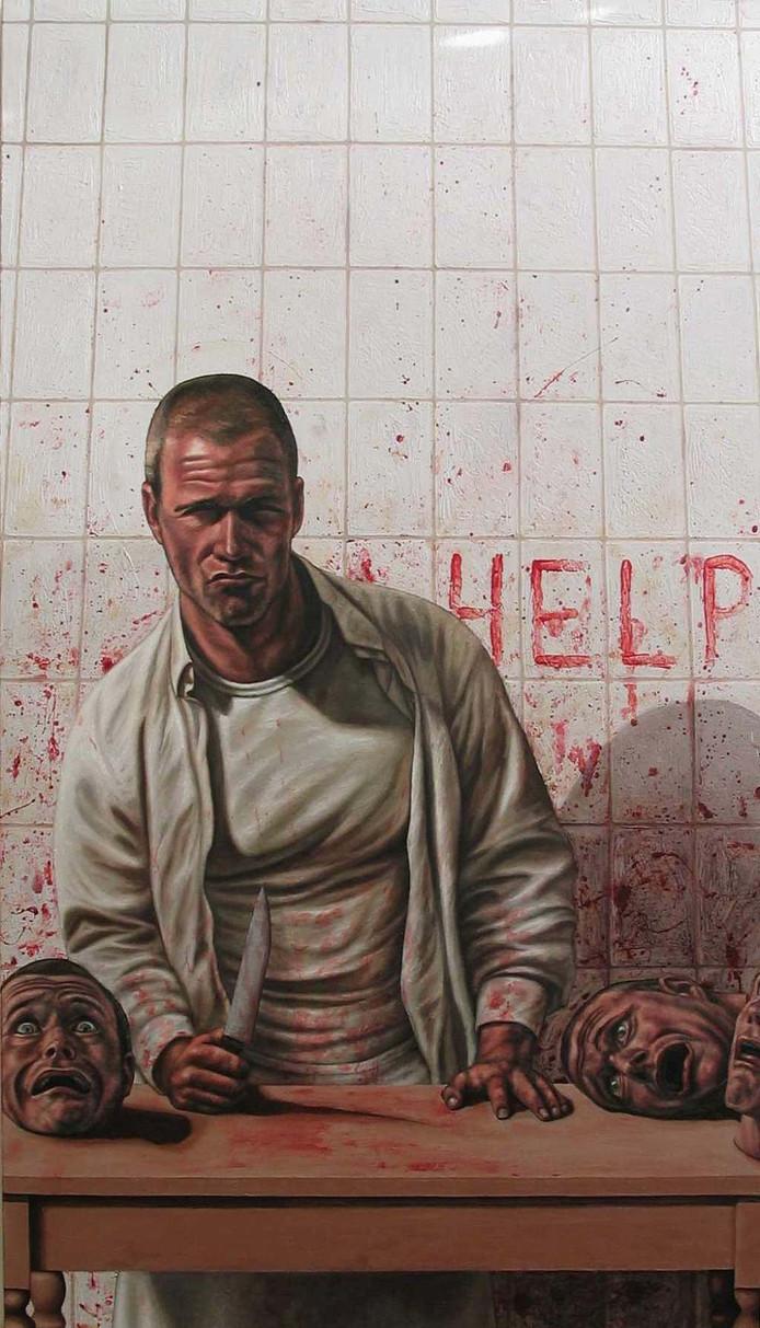 Zelfportret van de Utrechtse Erik Suidman als slager.