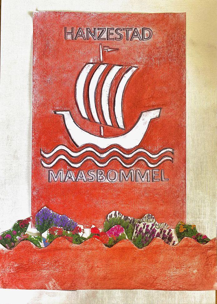 De schets die kunstenares Caroline Hörchner maakte als ontwerp voor het entreebord van Maasbommel.