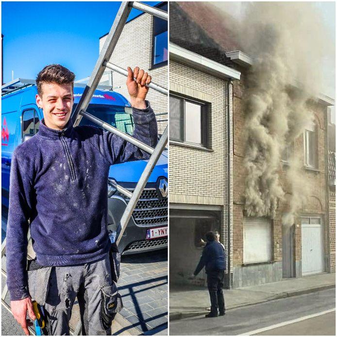 Lester Demeester kwam met zijn ladder in actie tijdens de brand in Brielen.