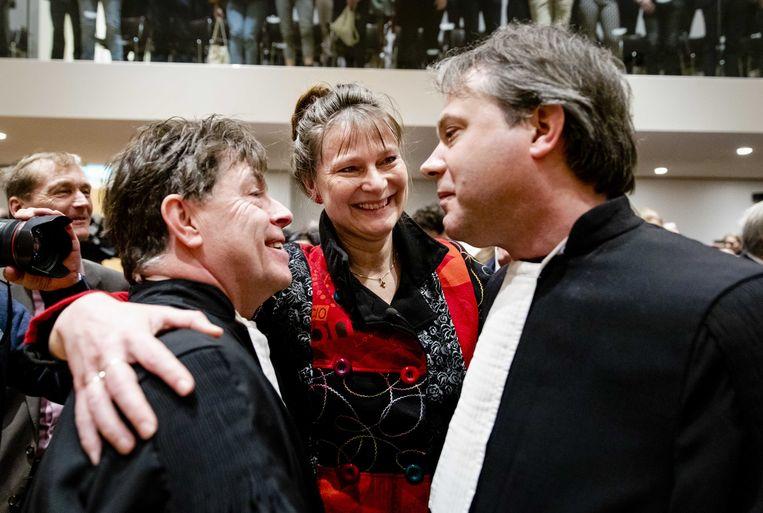 Marjan Minnesma, directeur van Urgenda, na afloop van de uitspraak van de Hoge Raad in de Urgendazaak.  Beeld Sem van der Wal/ANP