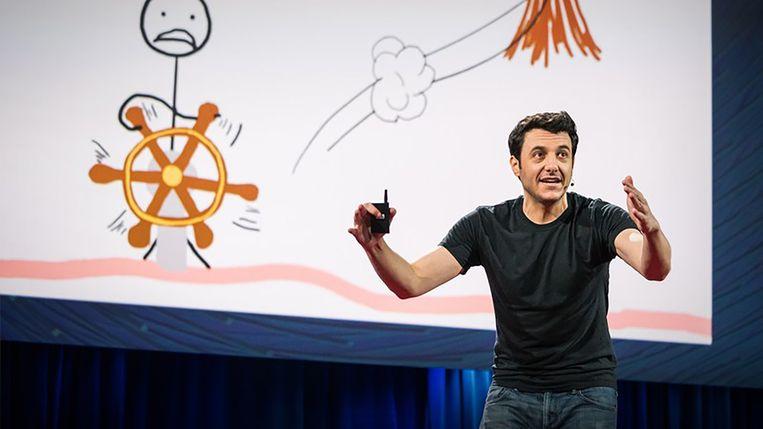 In zijn TED talk heeft Tim Urban het over de kwalijke gewoonte van procrastinatie.  Beeld TED