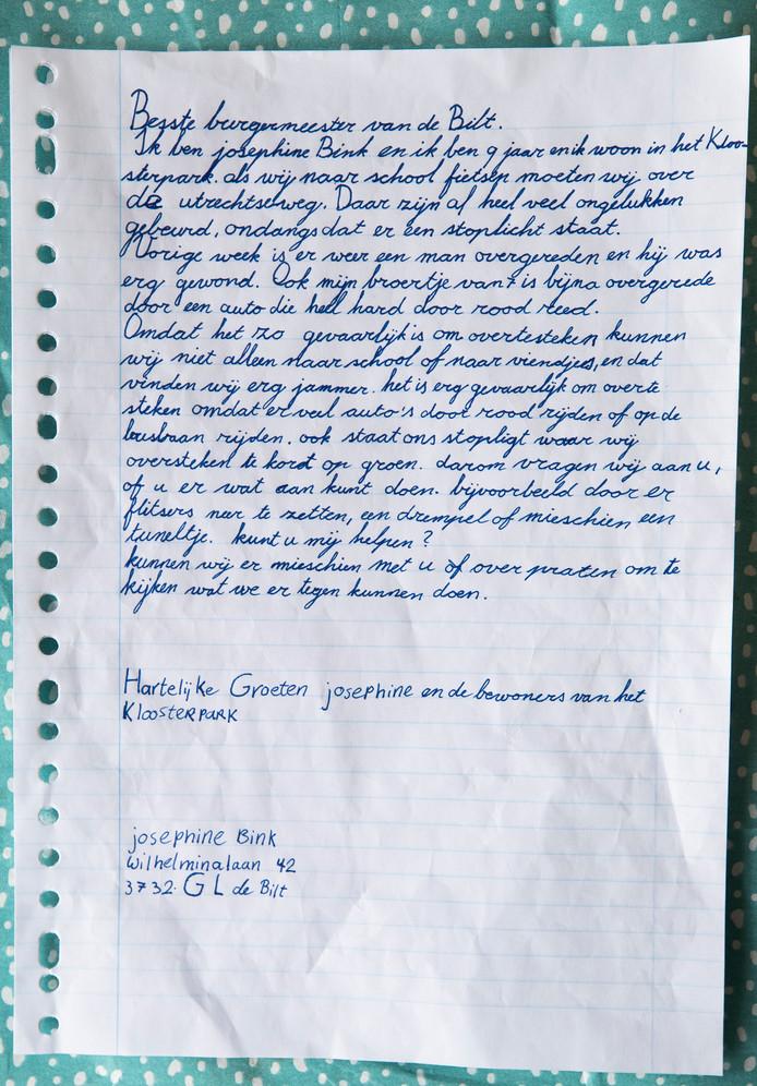 De brief die Josephine heeft geschreven aan burgemeester Sjoerd Potters van De Bilt.