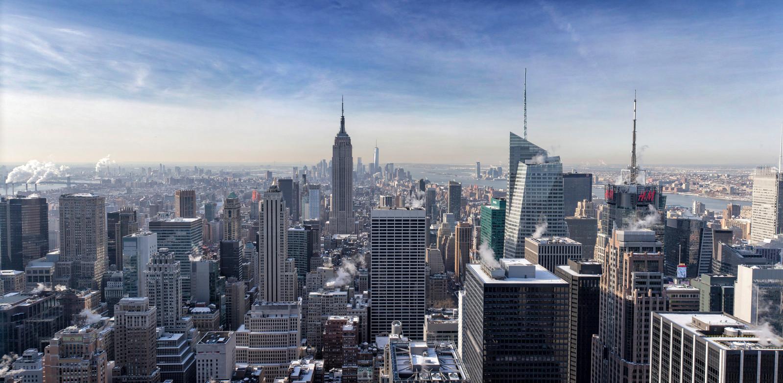 New York Skyline vanaf Top of the Rock, Rockefeller Center.