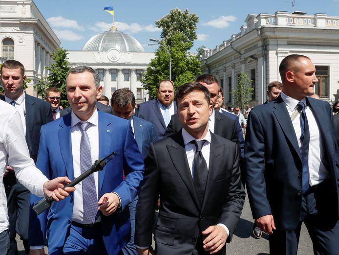 Serguïi Chefir et le président ukrainien Volodymyr Zelensky