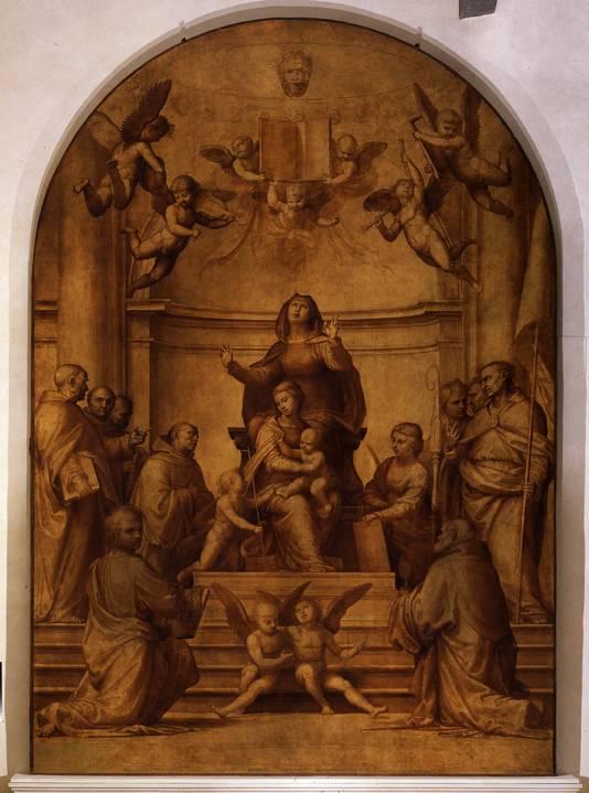 Fra Bartolommeo, Pala del Gran Consiglio (of Pala della Signoria) tronende Maria met Christuskind, de heilige Anna en de kleine Johannes de Doper, omringd door tien heiligen, 1510-1513.
