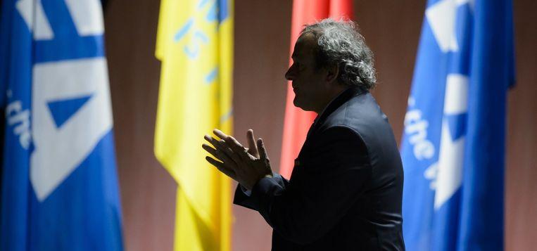 UEFA-voorzitter Michel Platini op het voorbije FIFA-congres in Zürich. Beeld Fabrice Coffrini/AFP
