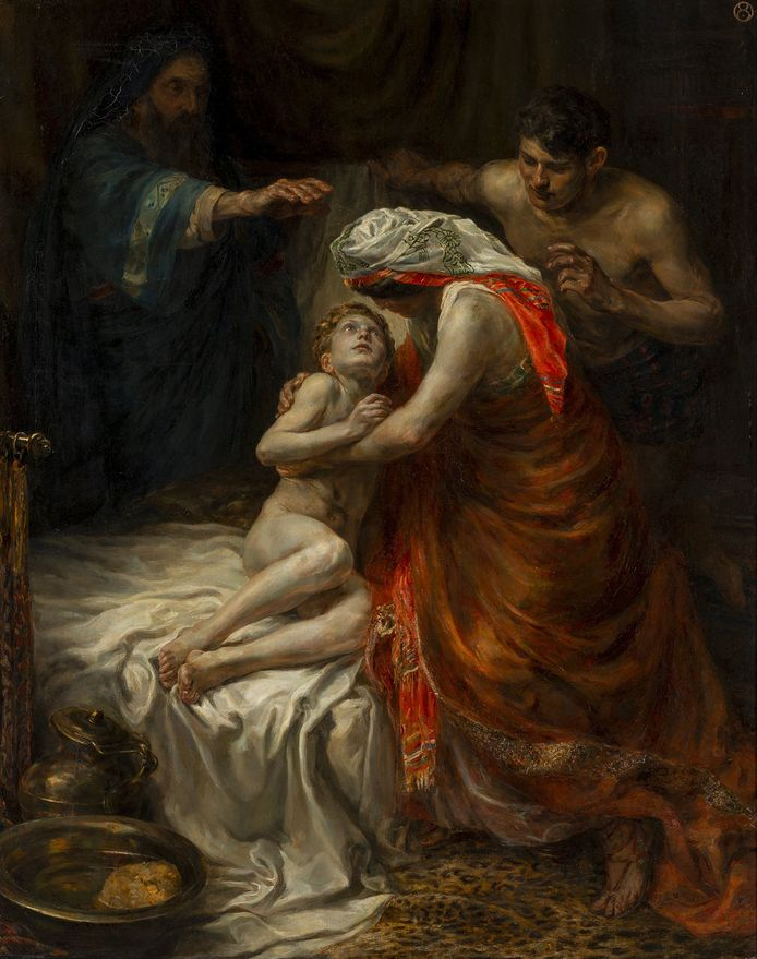 Jan Sluijters, 'De profeet Elisa wekt de zoon van de vrouw uit Sunem tot leven'. Topstuk op de tentoonstelling Allemaal wonderen in Museum Catharijneconvent.