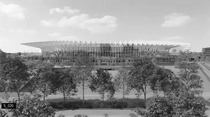 Een van de gelekte beelden van wat het nieuwe voetbalstadion in Milaan moet worden.