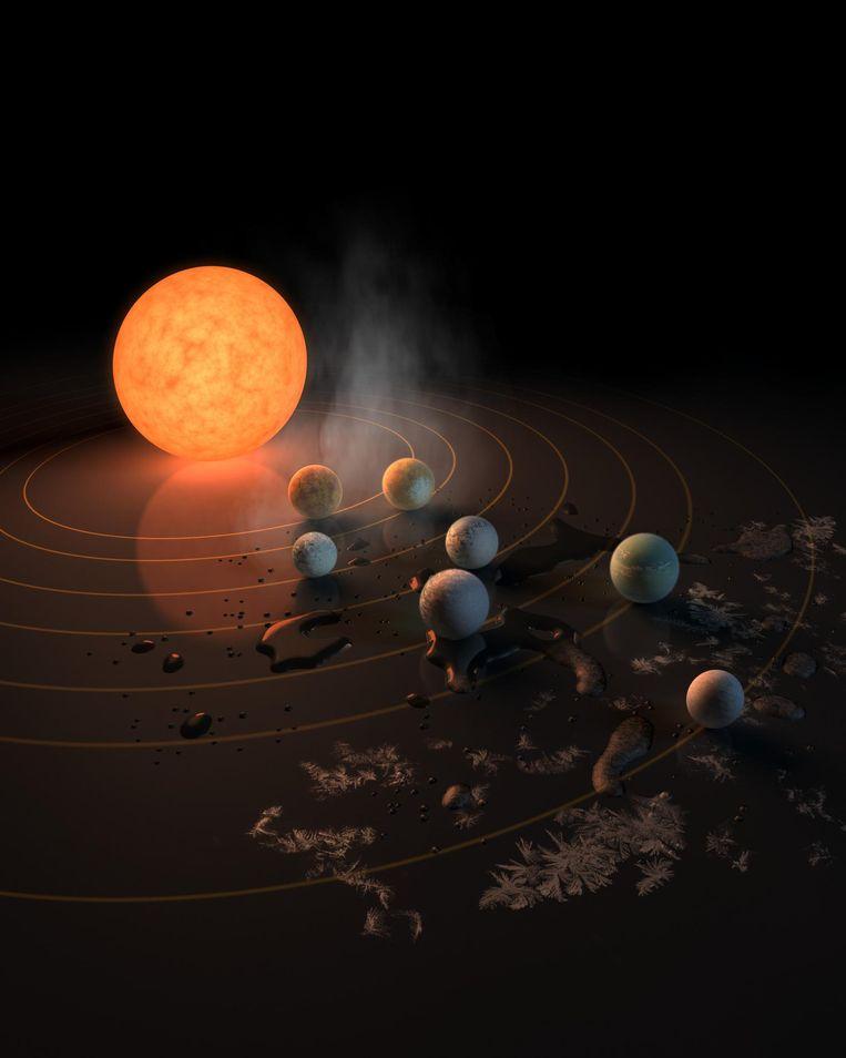 TRAPPIST-1 en zijn planeten. De mogelijke aanwezigheid van water op de planeten wordt verbeeld door de vorst, waterplassen, en stoom. Beeld NASA/R. Hurt/T. Pyle