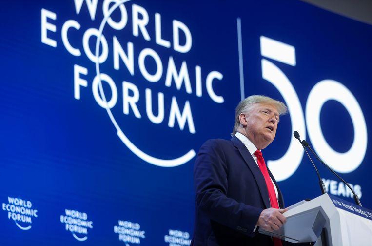 Trump tijdens zijn speech in Davos.