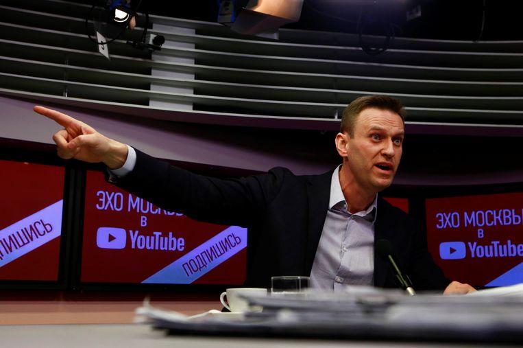 De Russische oppositieleider Aleksej Navalny mag niet deelnemen aan de verkiezingen. Beeld REUTERS