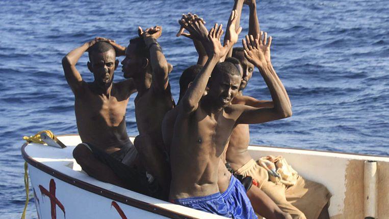 Overmeestede Somalische piraten in de Golf van Aden. Beeld EPA