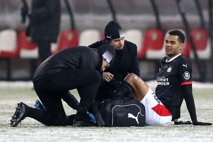Cody Gakpo wordt behandeld tijdens Sparta-PSV en kan niet verder.