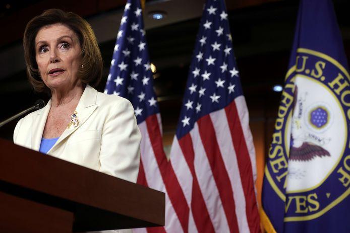 Nancy Pelosi, en conférence de presse, jeudi, à Washington
