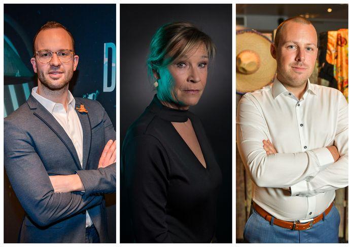 Voormalige deelnemers aan 'De Mol': Bas, Annelies en Pieter