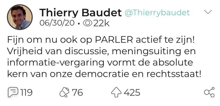 Een van de weinige berichten van Baudet op Parler Beeld Parler