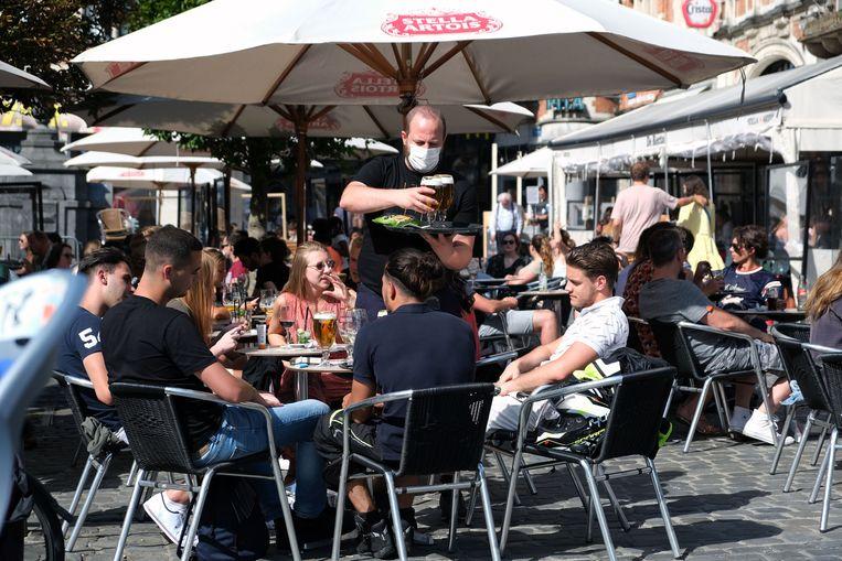 De Oude Markt in Leuven liep na de lockdown direct aardig vol.